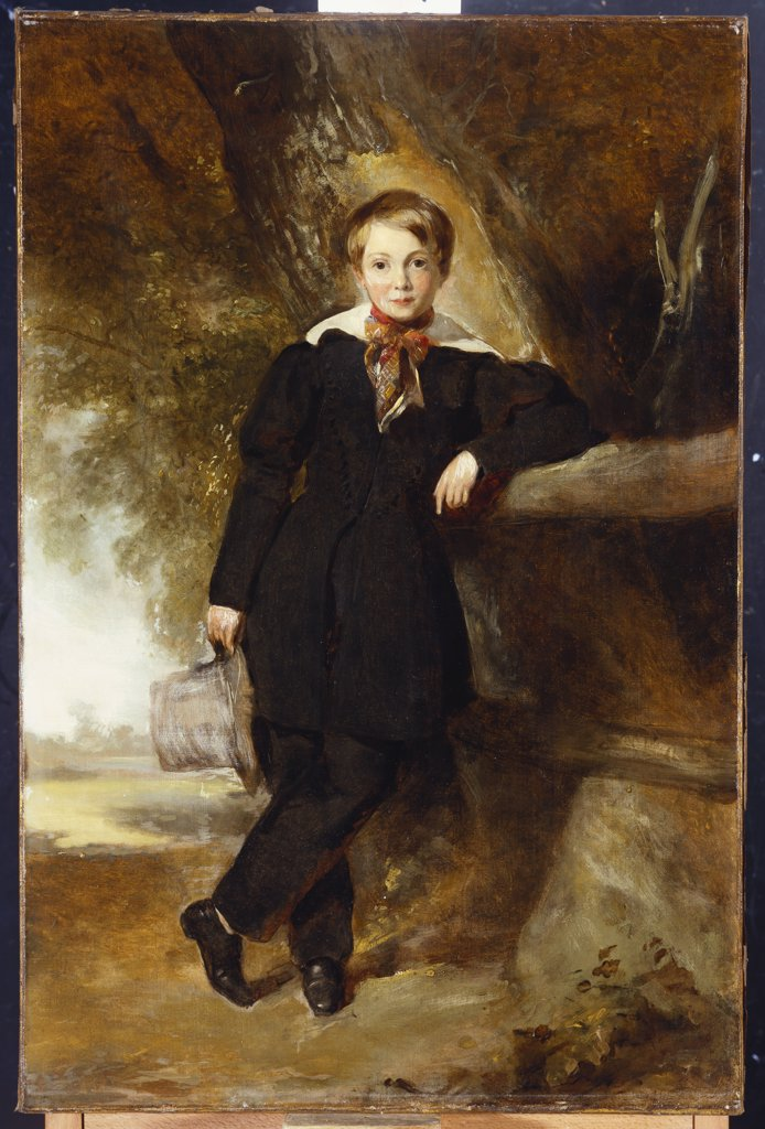 Stock Photo: 866-7881 Portrait of a Boy, possibly a member of the Stirling Family, full length, in a Dark Jacket and Trousers,  a White Shirt and Check Stock, Holding a Top Hat in his Hand, in a Landscape. William Owen (1769-1821). Oil on canvas, 76.5 x 50.5cm.