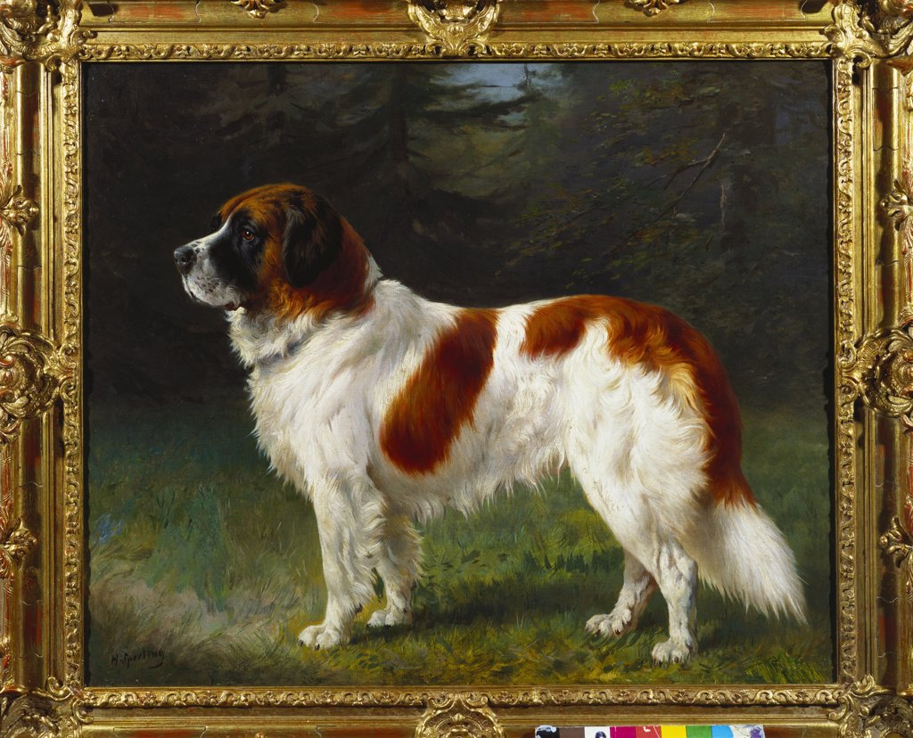 Stock Photo: 866-7888 A St. Bernard on the edge of a Wood. Heinrich Sperling (1844-1924). Oil on canvas, 23 x 27 1/2 in.