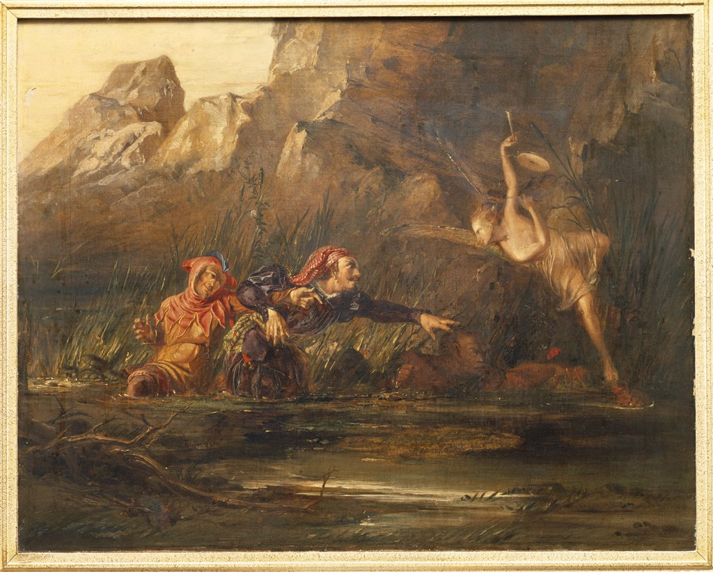 Ariel and Caliban. William Bell Scott (1811-1890). Oil on canvas, 61cm x 77.5cm. : Stock Photo