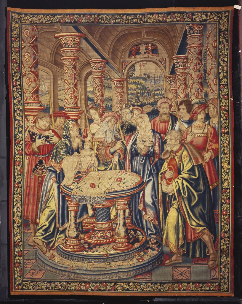 Stock Photo: 866-7919 A late Gothic Tournai Biblical tapestry, woven in wools and silks, depicting the Presentation in the Temple. In the manner of Bernard van Orley (c.1488-1541). Early 16th century, 297cm x 231cm.