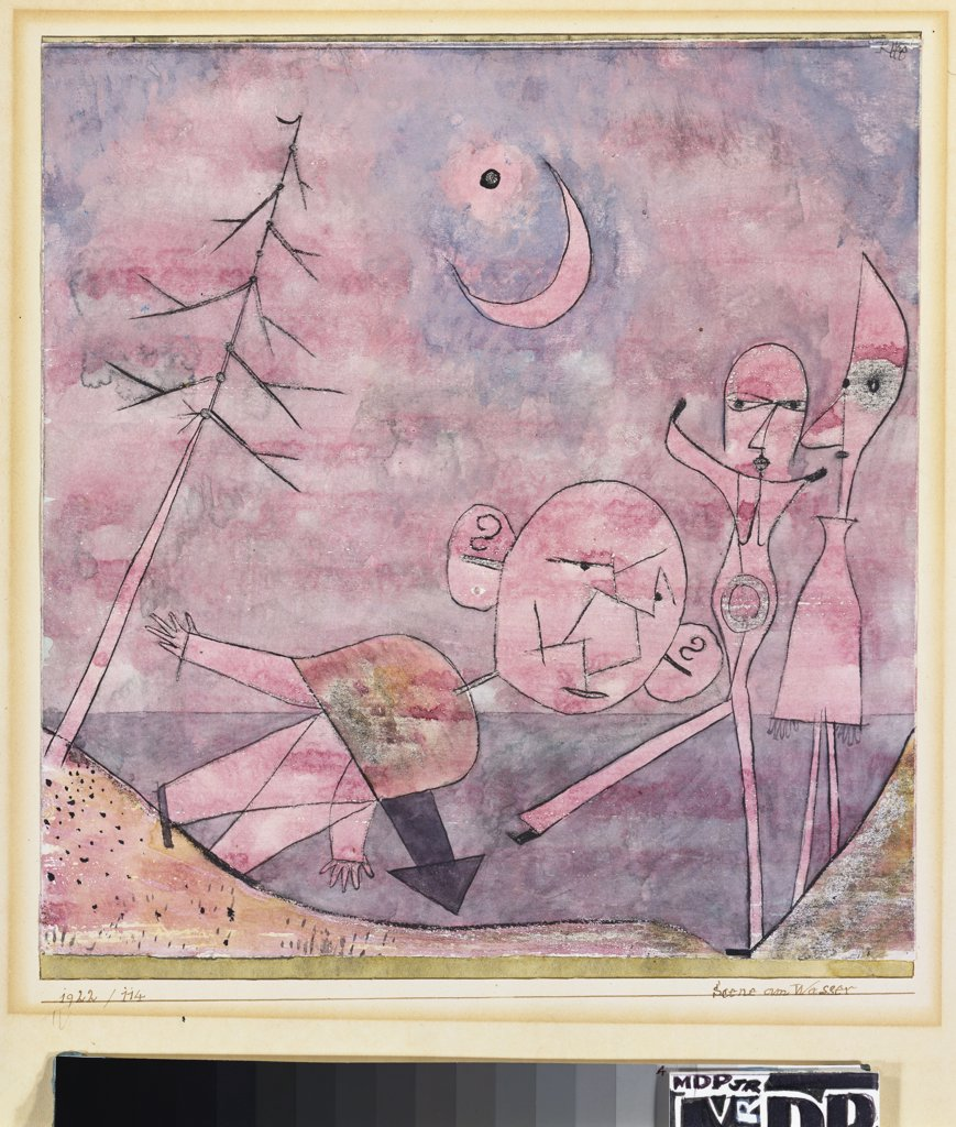 Stock Photo: 866-7930 Scene at the Water; Scene am Wasser. Paul Klee (1879-1940). Watercolour, pen and black ink on paper mounted by the artist on board, 1922.