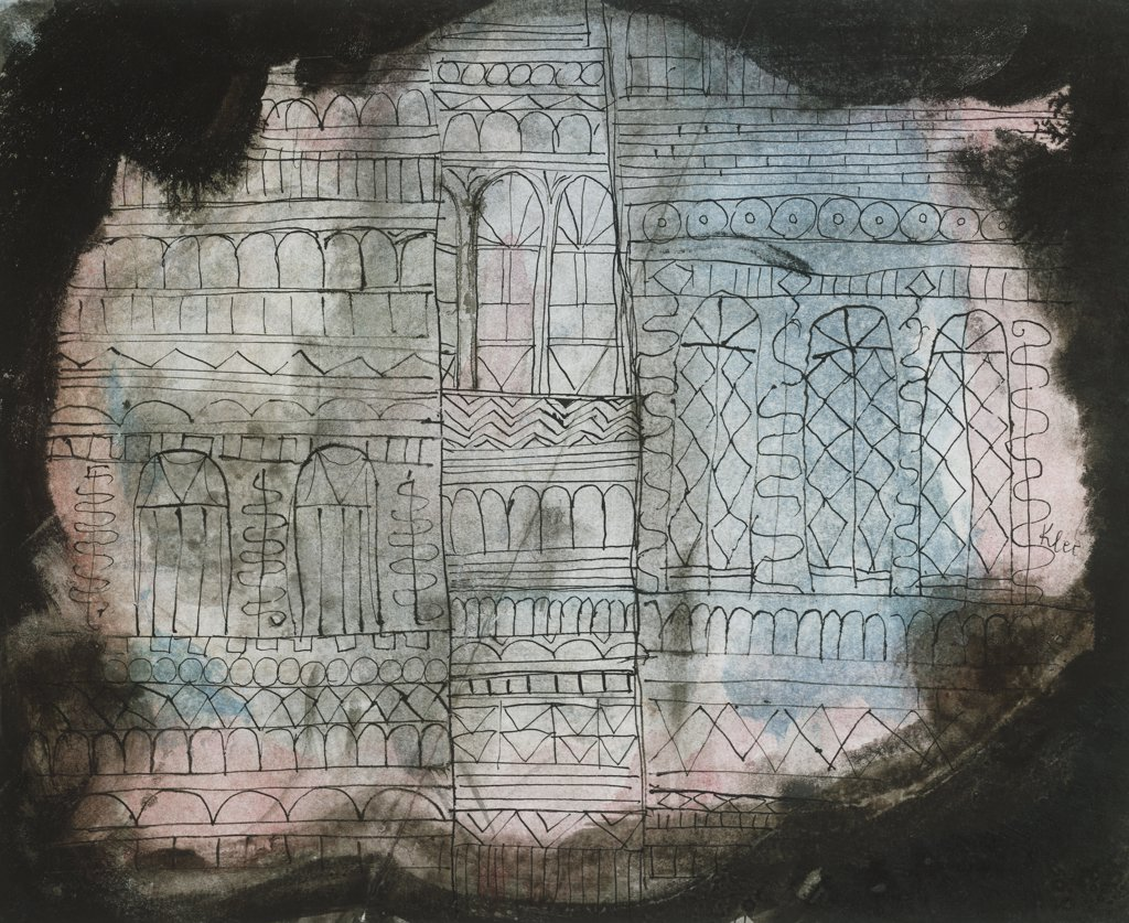Stock Photo: 866-7932 Castle Burning. Schloss In Flammen. Paul Klee (1879-1940). Black Ink And Watercolour, 1920.