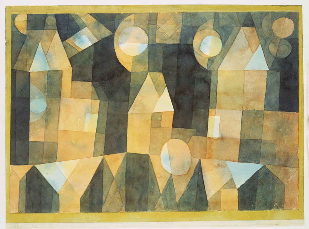 Three Houses And A Bridge; Drei Hauser An Der Brucke. Paul Klee (1879-1940). Watercolour And Pencil On Paper Mounted On Board, 1922. : Stock Photo
