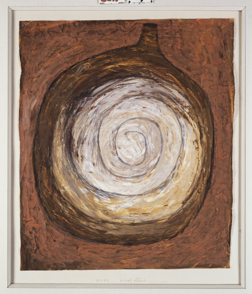 Stock Photo: 866-7965 Rounded Bottle; Kurbis Flasche.  Paul Klee (1879-1940). Gouache On Tan Paper, 1934.