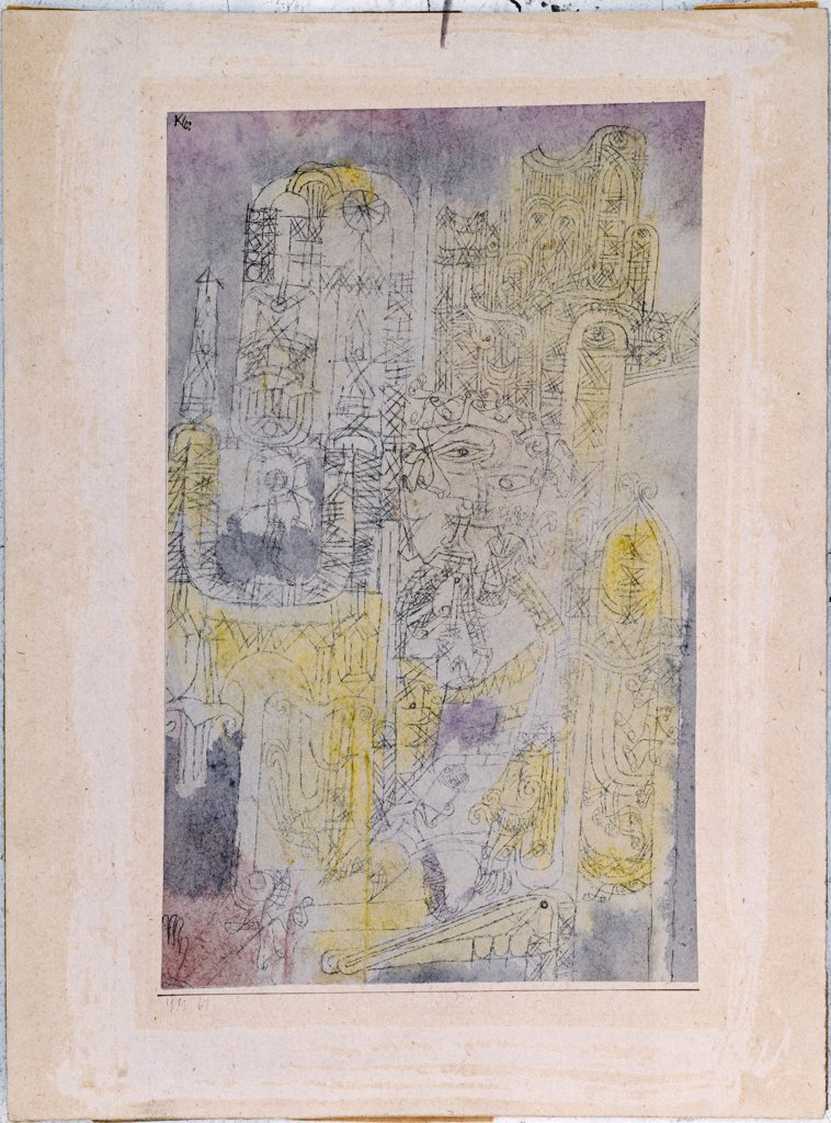 Stock Photo: 866-7970 Gothic Rococo. Gotisches Rococo. Paul Klee (1879-1940). Watercolour And Pen And Black Ink On Paper Laid Down By Artist On Board, 1919.