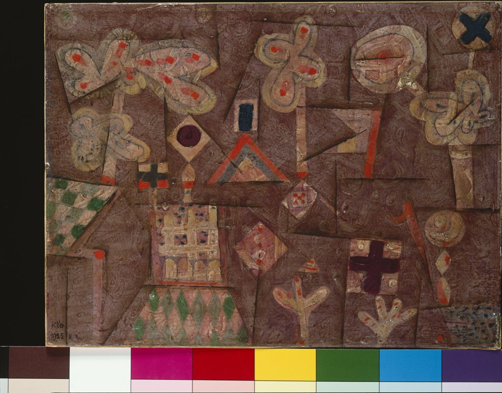The Gingerbread House. Lebkuchen Bild. Paul Klee (1879-1940). Oil And Molded Plaster On Board Laid Down On Panel, 1925. : Stock Photo