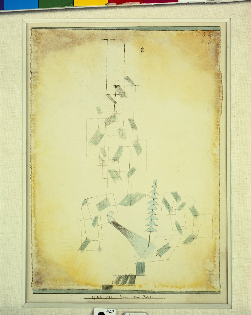 Stock Photo: 866-7979 Bau Am Bach. Paul Klee (1879-1940). Watercolour And Pen And Ink On Paper Laid Down By The Artist On Board, 1922.