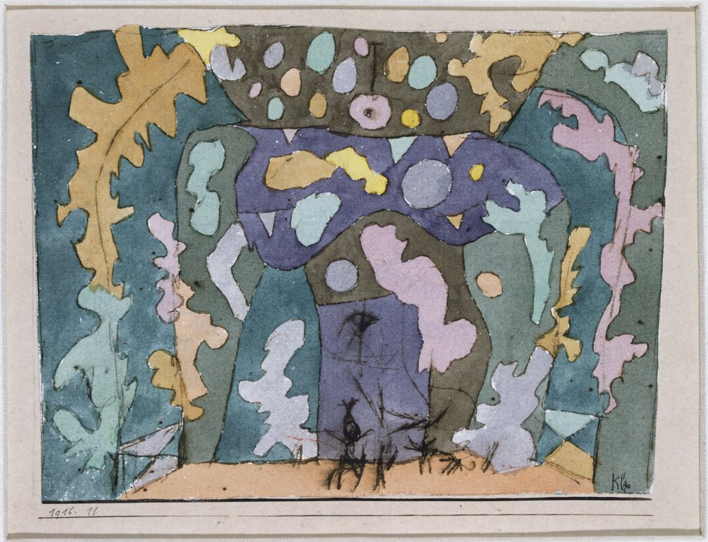 Stock Photo: 866-7983 Theater, Kleines Buehnenbild. Paul Klee (1879-1940). Watercolor, Black Ink And Pen On Paper Laid On Board, 1916.