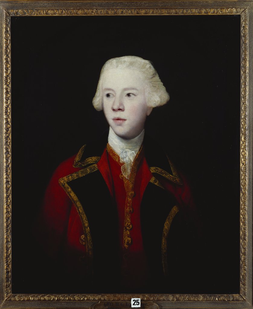 Stock Photo: 866-8010 Portrait of George Augustus, 3rd Viscount Howe, half-length, Wearing the Uniform of the 1st Guard. Sir Joshua Reynolds, P.R.A., (1723-1792). Oil on canvas, 76.3 x 63.6cm.