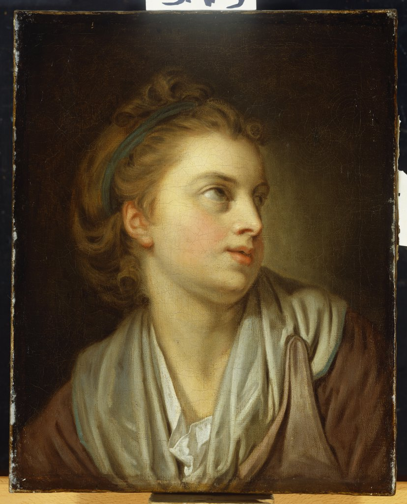Stock Photo: 866-8044 A Girl, bust length, with a Green Hairband, looking Up.  Attr. to Jean-Baptiste Greuze (1725-1805). Oil on canvas, 42.5 x 34cm.