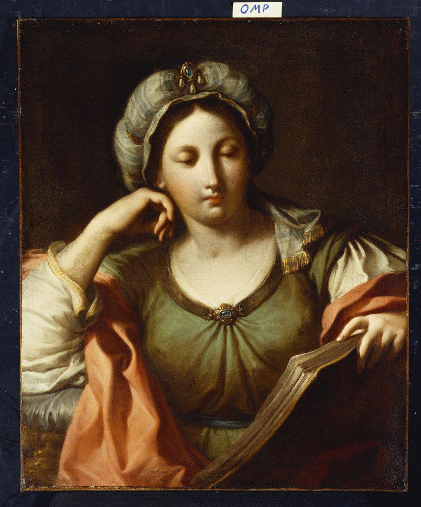 Stock Photo: 866-8053 A Sibyl. Studio of Giovanni Andrea Sirani (1610-70). Oil on canvas, 74.3 x 61cm.