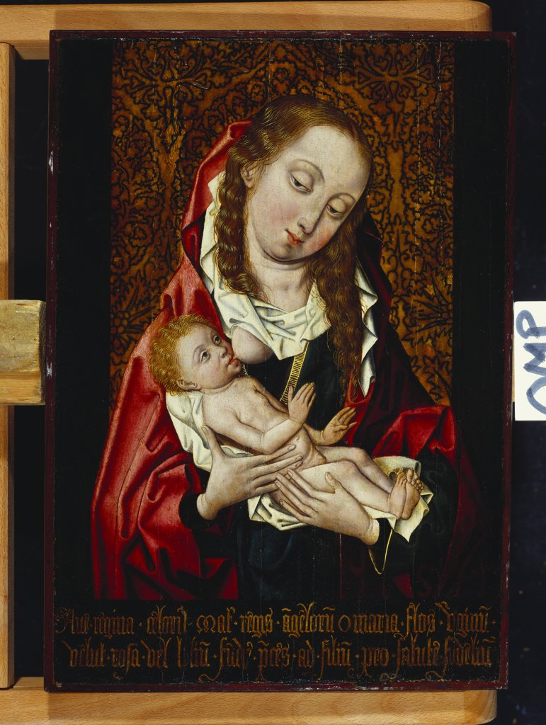 Stock Photo: 866-8054 The Madonna Suckling the Infant Christ. Follower of Rogier van der Weyden (c.1400-1464). Oil on panel, 43.8 x 30.8cm.