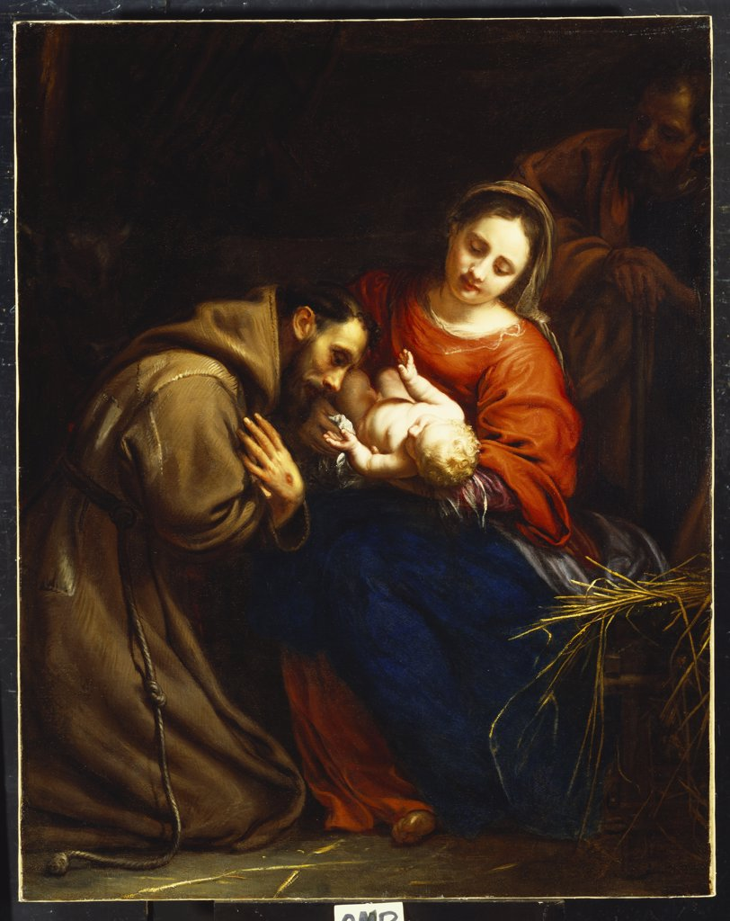 Stock Photo: 866-8064 The Holy Family with St. Francis. Jacob van Oost I (1601-1671). Dated 1665, 128.2 x 101.5cm.