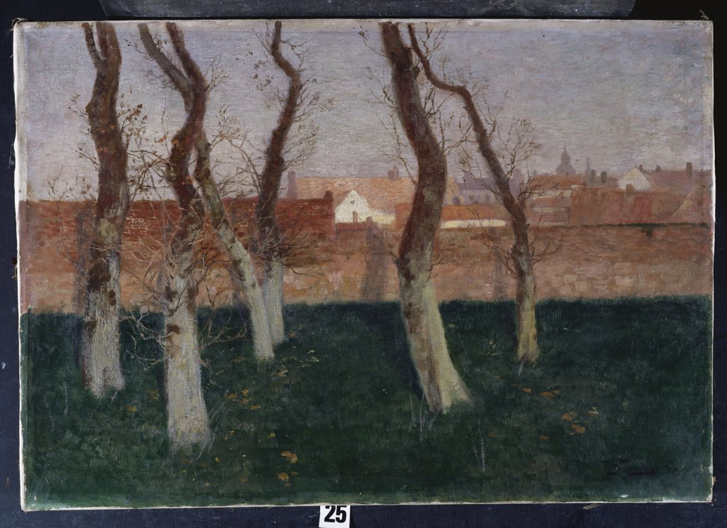 Stock Photo: 866-8083 The Walled Garden. Frits Thaulow (1847-1906). Dated 1893, oil on canvas, 45 x 68cm.
