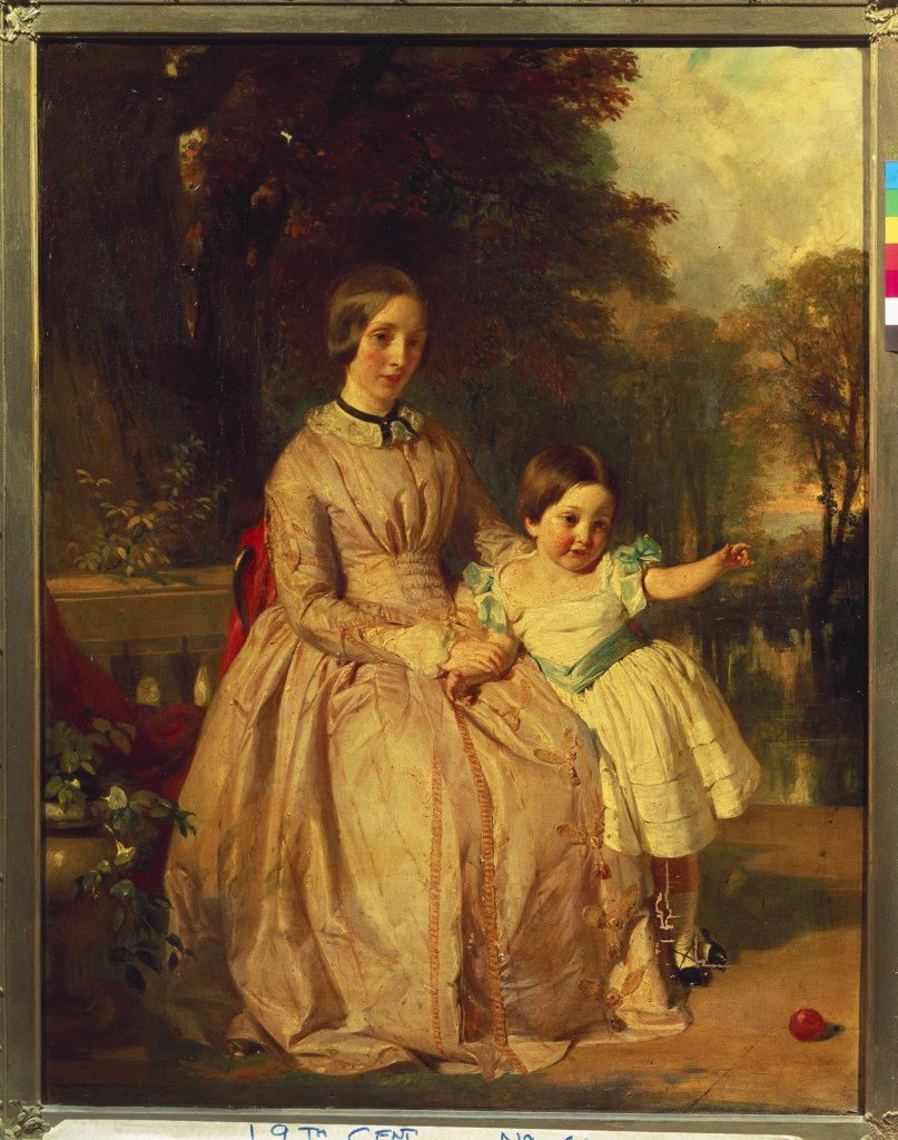 Portrait of Jane Harris Stephens, the Artist's Wife seated Full Length, Wearing a Pink Dress, with her Daughter Jane Helen Mary, on a Terrace. Edward Bowring Stephens  (1815-1882). Oil on canvas, 91.5 x 71.1cm. : Stock Photo