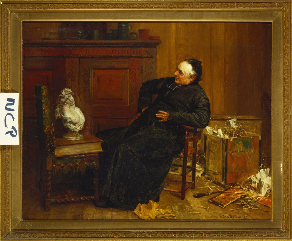 The Connoisseur. Walter Dendy Sadler (1854-1923). Dated 84-87, oil on canvas, 40.8 x 51cm. : Stock Photo