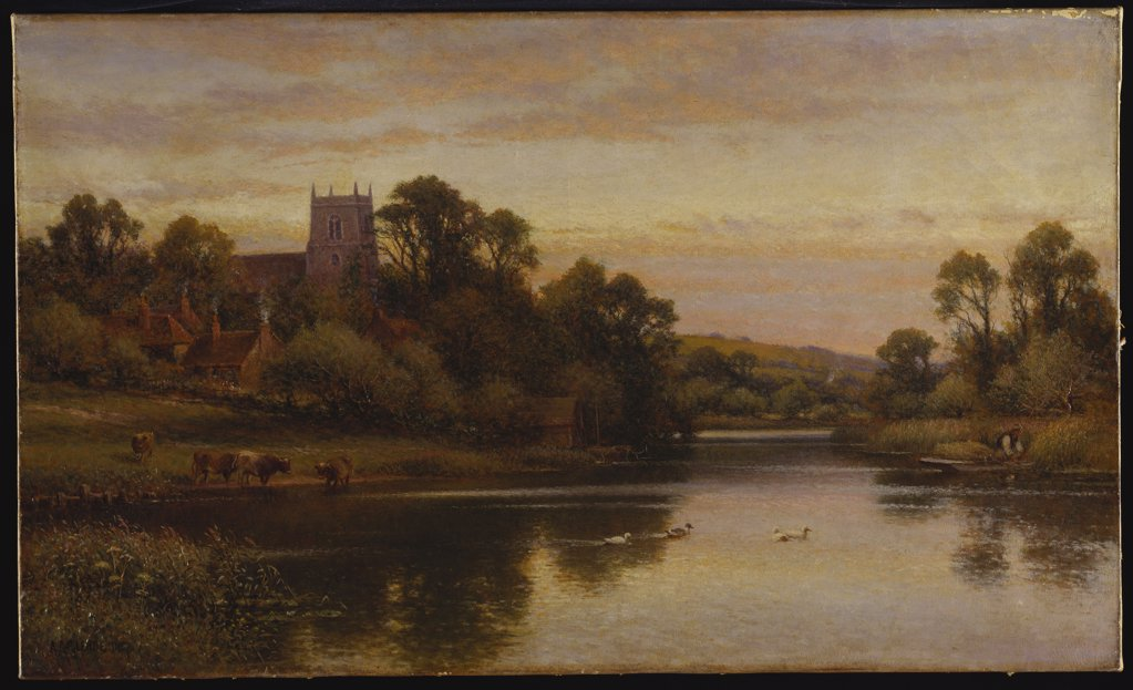 Stock Photo: 866-8103 A View of Wrexham, North Wales. Alfred Augustus Glendening (fl.1861-1903). Oil on canvas, 45.5 x 76cm.