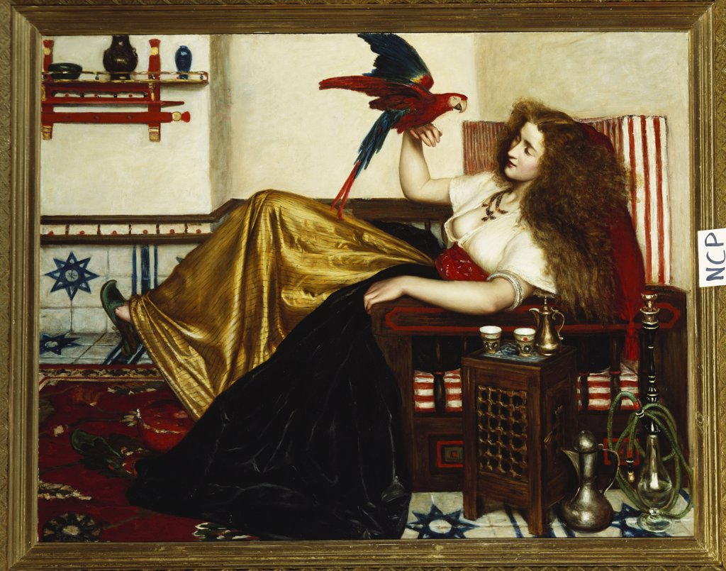 Stock Photo: 866-8106 The Lady of the Tootni-Nameh; or The Legend of the Parrot. Valentine Cameron Prinsep, R.A.  (1838-1904). Oil on canvas, 91.5cm x 116.5cm.
