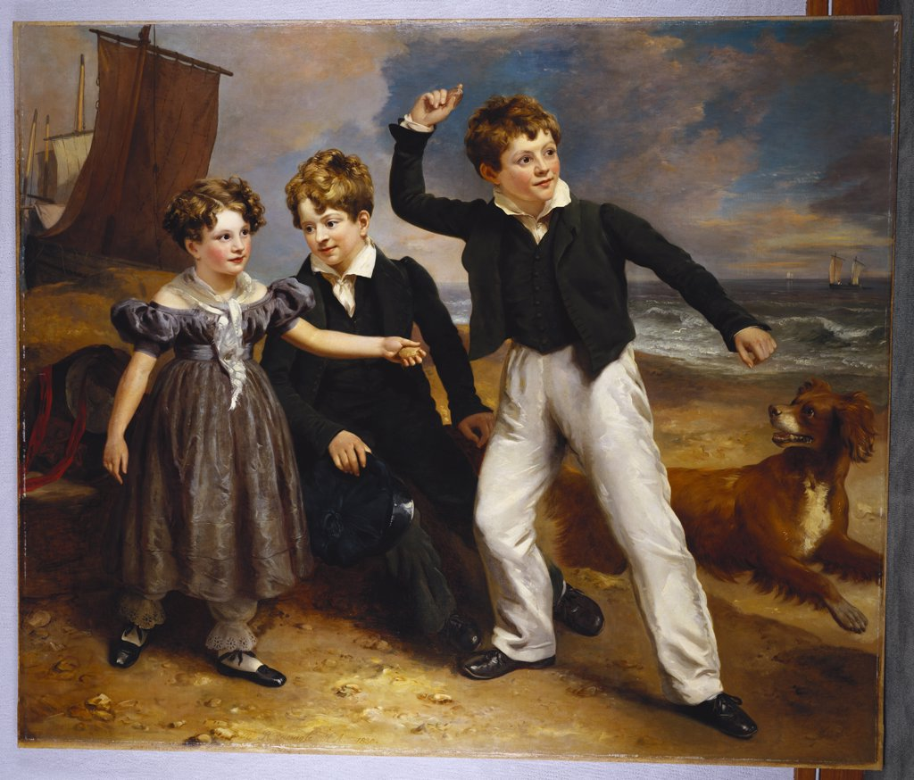 Stock Photo: 866-8121 A Group Portrait of Robert, James and Mary Sarah, the Three Children of James Greenhalgh.  Ramsay Richard Reinagle, R.A. (1775-1862). Oil on canvas, dated 1830, 151 x 180.4cm.