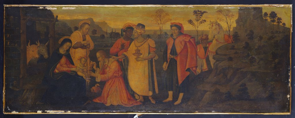 Stock Photo: 866-8136 The Adoration of the Magi with a Donor. Matteo Balducci (c.1509-1554). Oil on canvas, transferred from panel, part of a predella, 25.4 x 68.6cm.