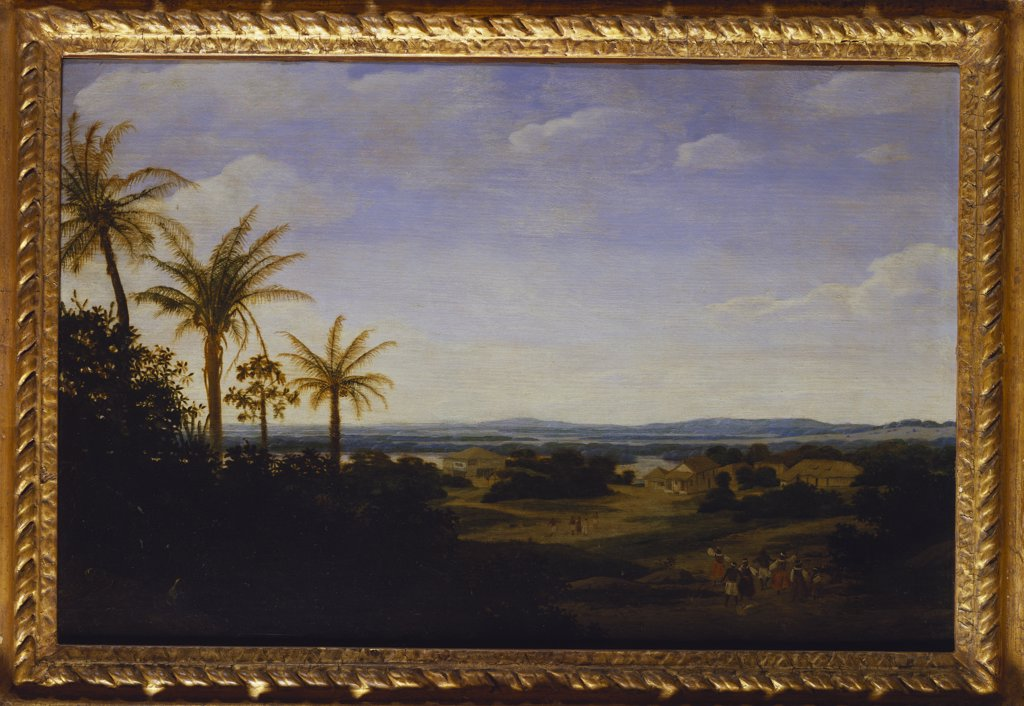 An Extensive Landscape in Brazil with the Portuguese Residence, the Church and the Casa-Grande, the River Varzea Beyond. Frans Jansz Post (1612-1680). Dated 164(?)9, oil on panel, 39.3 x 59.5cm. : Stock Photo