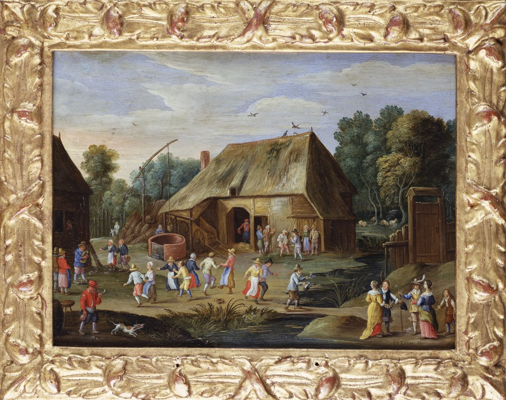 Gentry at a Peasant Dance in a Farmyard. Jan van Kessel (1641-1680). Oil on copper, 16.5 x 22.5cm. : Stock Photo