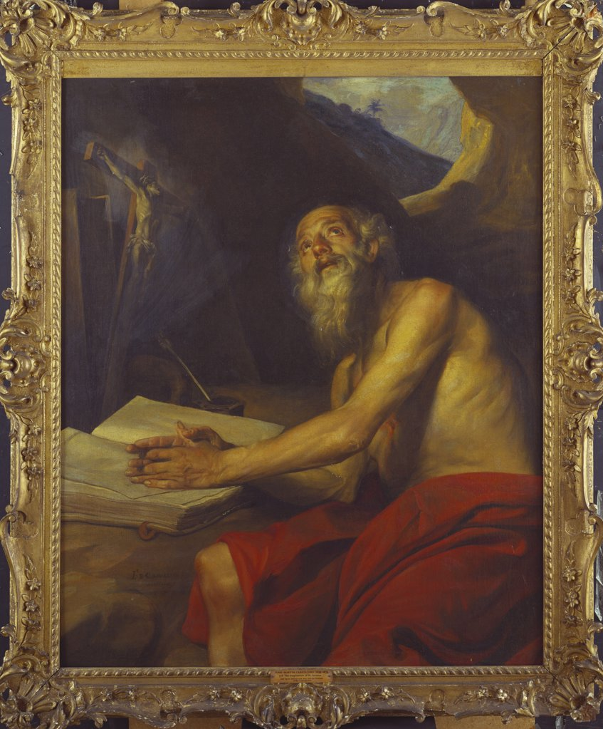 The Vision of Saint Jerome.  Juan Martin Cabezalero (1633-1673). Dated 1666, oil on canvas, 124.5 x 102.2cm. : Stock Photo