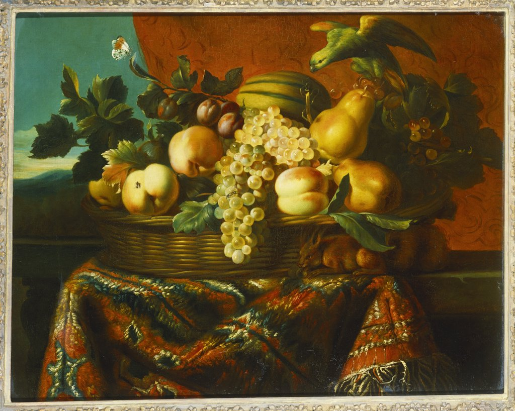 Grapes, Peaches, Plums, Pears and a Melon in a Basket with a Parakeet, a Red Squirrel and a Butterfly and other Insects on a Draped Ledge. Pierre Dupuis (1610-1682). Oil on canvas, 65.4 x 81.3cm. : Stock Photo