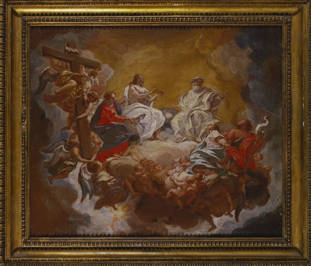 Stock Photo: 866-8182 St Agnes in Glory, Assisted by The Madonna and St.John the Baptist, the Trinity Above. Giovanni Battista Gaulli, called Baciccio (1639-1709). Oil on canvas, 46.2 x 55.2cm.