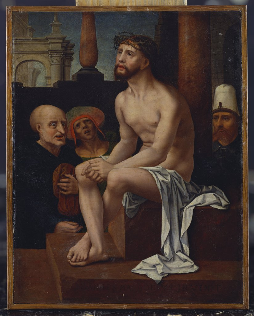 Christ as the Man of Sorrows. The Master of the Female half-lengths, after Jan Gossaert, called Mabuse, (c.1472-c.1533). Oil on panel, 23.7 x 18.7cm. : Stock Photo