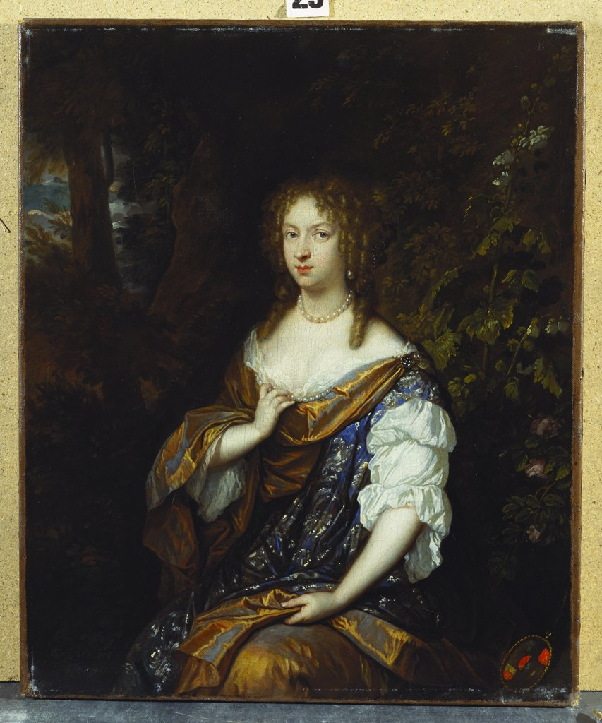 Portrait of Sara Nuyts (1645-1723), (wife of Lambert Witsen), in an Orange, Blue and White Dress. Caspar Netscher (1639-1684). Oil on canvas dated 1679, 48.5 x 40cm. : Stock Photo