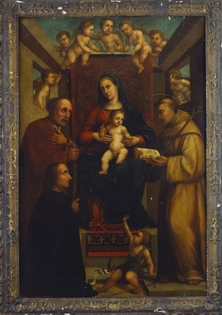 Stock Photo: 866-8208 The Madonna and Child Enthroned with Saints Joseph and Francis and the Infant John the Baptist, Angels and a Kneeling Male Donor.  Circle of Francesco Raibolini, Il Francia (c. 1450-1517).