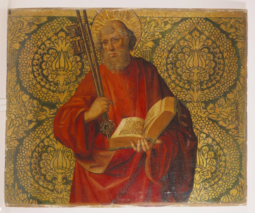 Saint Peter. The Master of Santa Maria del Campo (active c. 1500). Oil on ground panel, 58 x 70.5cm. : Stock Photo
