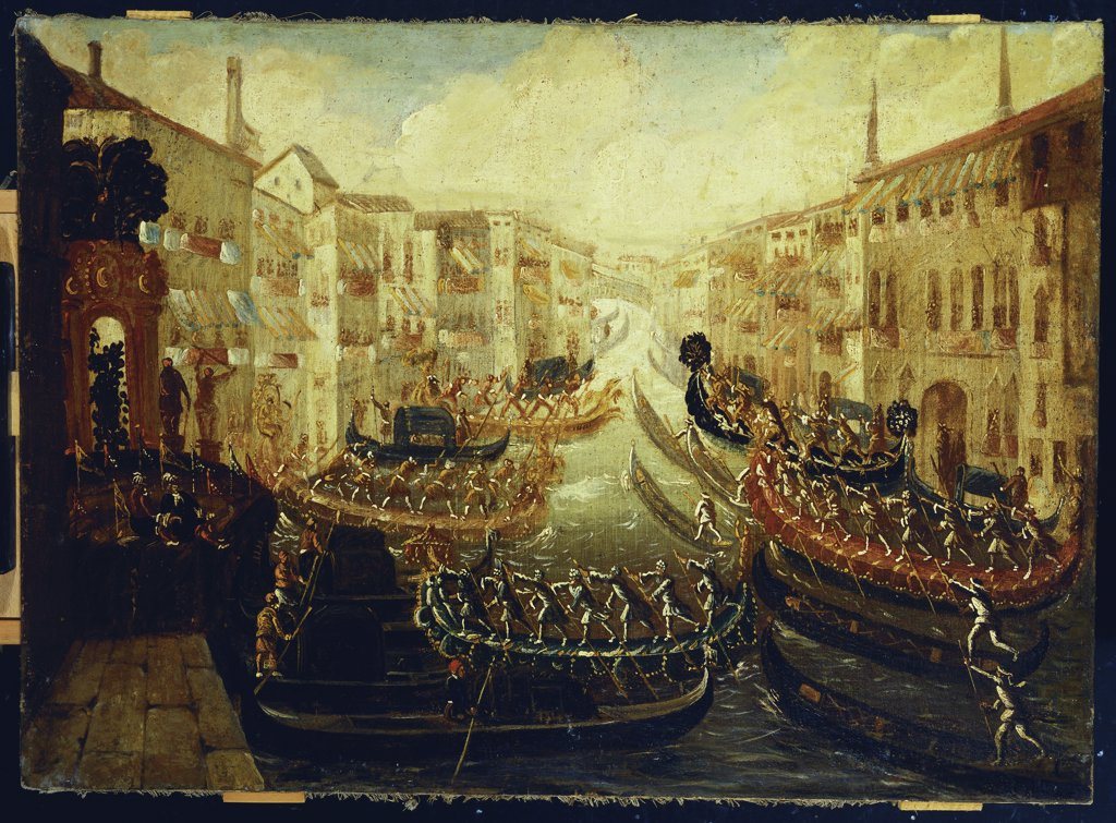 A Regatta on the Grand Canal. Manner of Joseph Heintz II (ca. 1600-1678). Oil on canvas, 81.9 x 114cm. : Stock Photo
