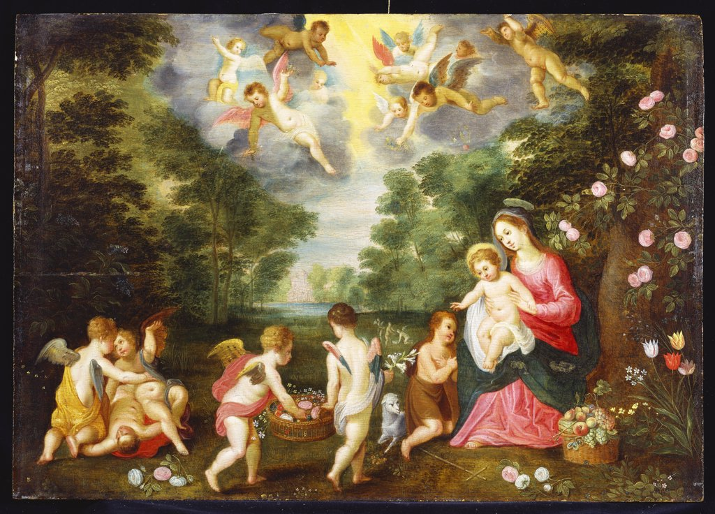 Stock Photo: 866-8221 The Rest on the Return from Egypt with the Infant Saint John the Baptist Adoring the Christ Child as Angels Disport to Offer Flowers. Attributed to Jan van Balen, (c.1611-1654). Oil on panel, 47.3 x 66.8cm.