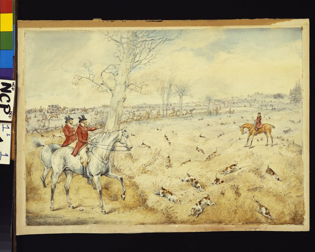 Stock Photo: 866-8248 Hunting scenes: Drawing Cover. Henry Thomas Alken (1785-1851). Pencil and watercolour on paper, 23.5 x 34.3cm.