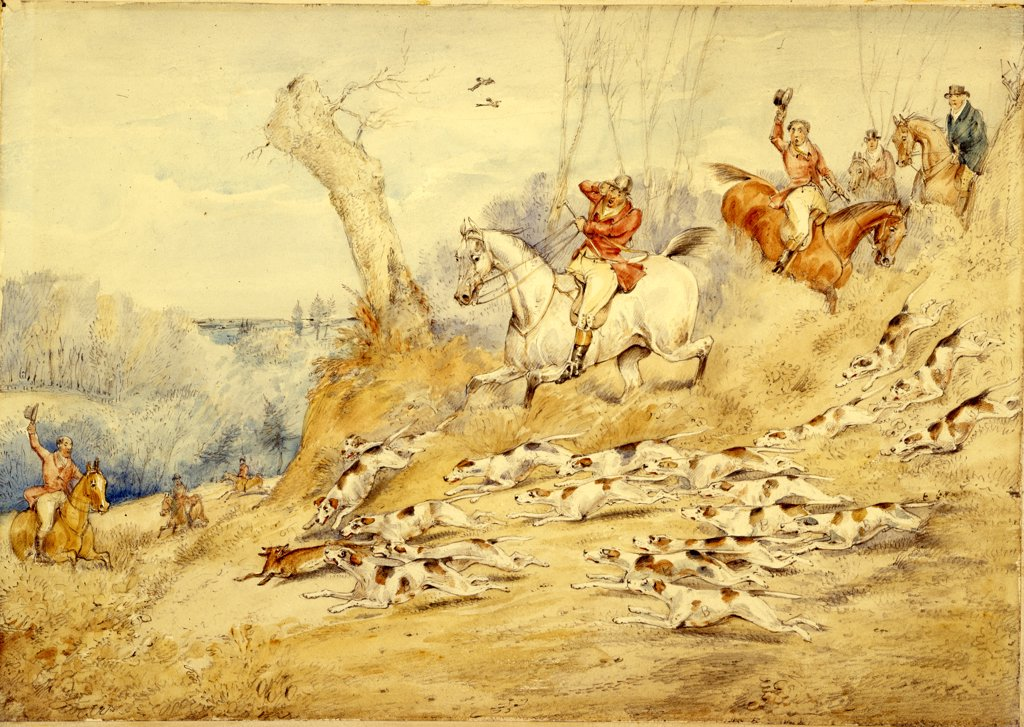 Hunting Scenes: Through the Brook. Henry Thomas Alken (1785-1851). Pencil and watercolour on paper, 23.5 x 34.3cm. : Stock Photo