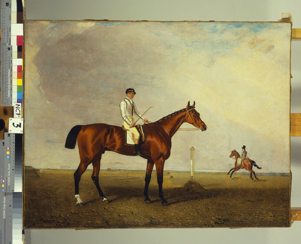 Stock Photo: 866-8260 A Bay Racehorse with a Jockey up on a Racehorse. Lambert Marshall (1810-1870). Dated 1830, oil on canvas, 71.1 x 91.4cm.