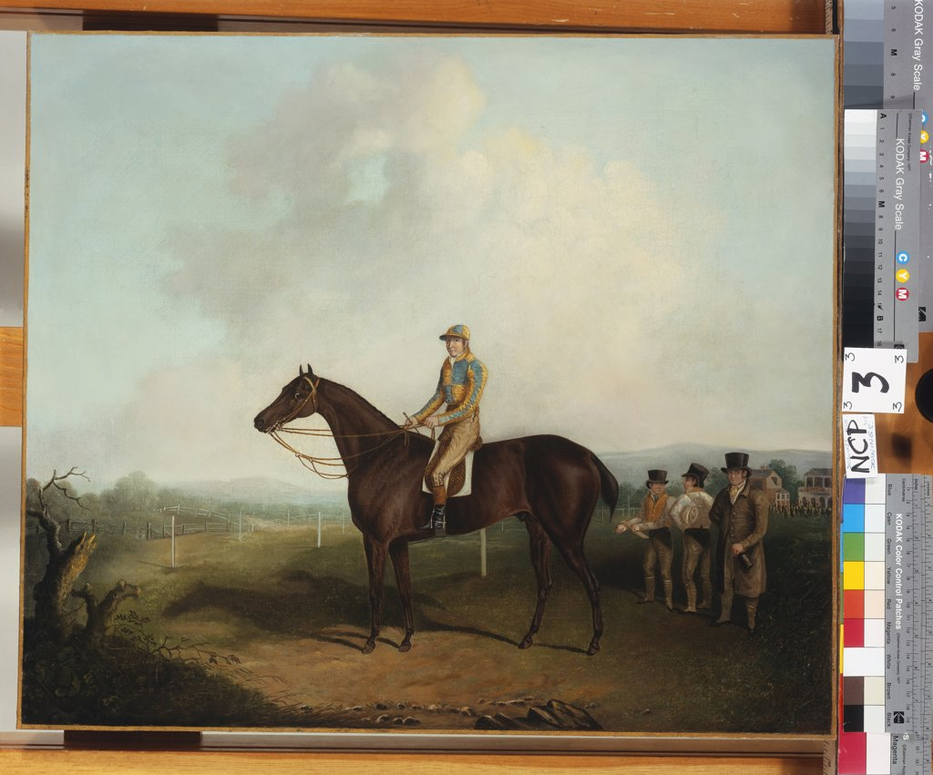 Stock Photo: 866-8262 Racehorse with Jockey up, with Trainer, Grooms, and a Grandstand beyond. Attributed to Daniel Clowes (1774-1829). Oil on canvas, 55.8 x 64.9cm.
