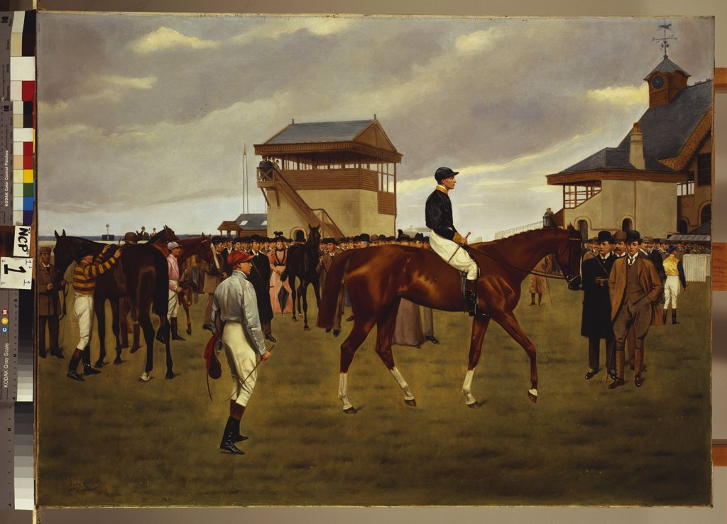 Stock Photo: 866-8267 Sir Horace Farquhar's Chestnut Colt 'Nouveau Riche' in the Winner's Enclosure, Newmarket. Isaac J. Cullin (op. 1881-1920). Dated 1896, oil on canvas, 81.9 x 111.8cm.