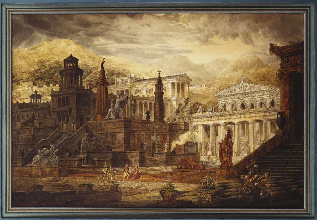 Stock Photo: 866-8308 A Reconstruction of Sparta: The Persian Porch and Place of Consulation of the Lacedemonians. Joseph Michael Gandy, A.R.A. (1771-1843). Pencil, pen and black ink and watercolour, 17 x 25 1/4 in.