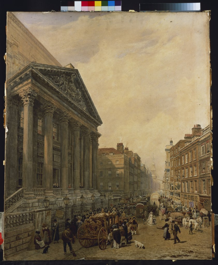 Stock Photo: 866-8310 The Mansion House from Poultry looking down Cheapside towards St. Mary-le-Bow. Frederick Nash (1782-1856). Watercolour, 31.7 x 26.3in.
