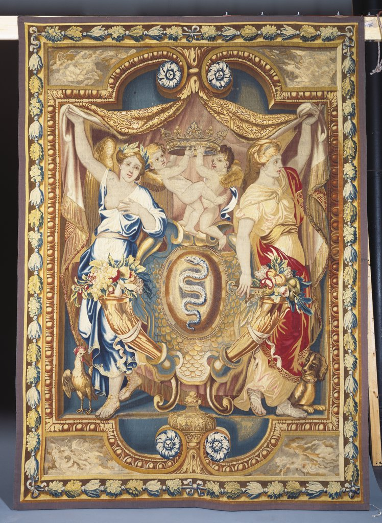 Stock Photo: 866-8330 A Louis XIV Gobelins Armorial Tapestry from the Renommes series, woven in wools, silks and metal thread, commissioned by Jean Baptiste Colbert (d.1683). 297 x 214cm.