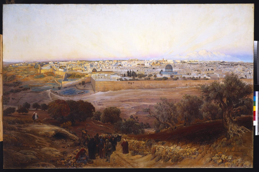 Jerusalem from the Mount of Olives. Gustav Bauernfeind (1848-1904). Dated 1902, oil on canvas, 132 x 201cm. : Stock Photo