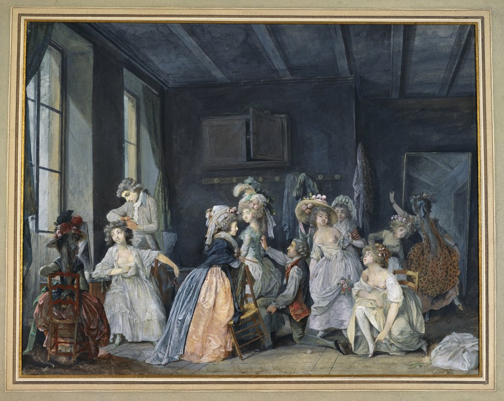 Preparations for the Ballet; Les Apprets du Ballet. Niclas Lafrensen the younger (1737-1807). Bodycolour on paper, 280 x 360mm. : Stock Photo