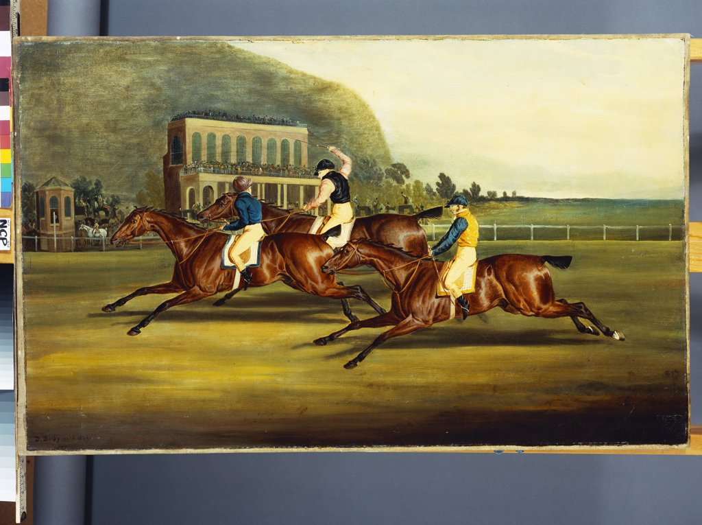 Stock Photo: 866-8380 The Badsworth Hunt Gold Cup of Pontefract, Monday, March 29, 1824. Dated 1826, oil on canvas.