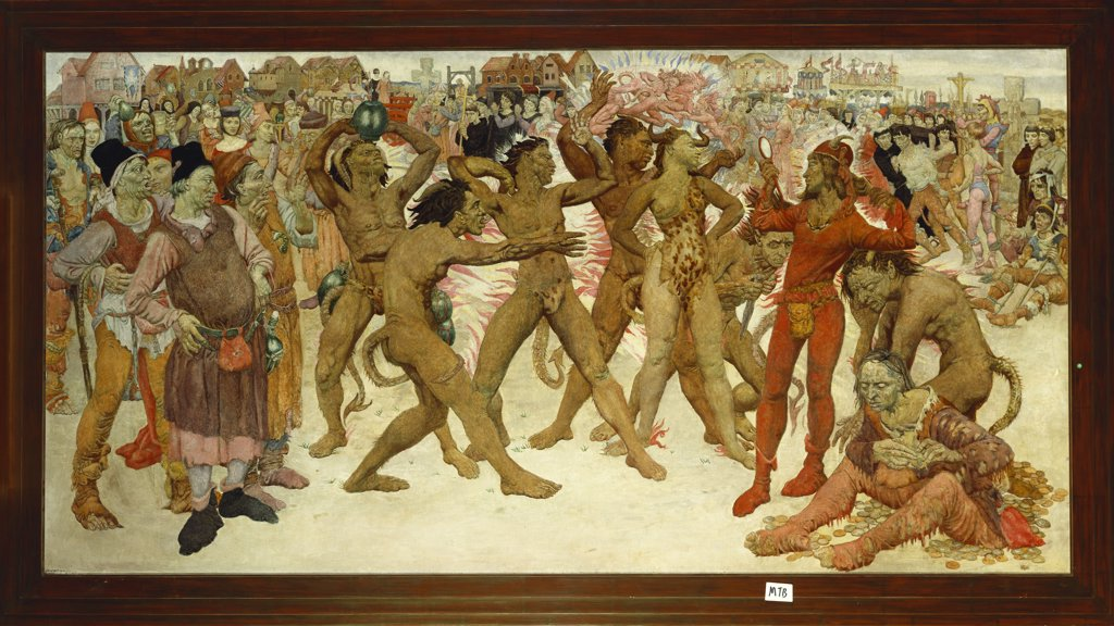 Stock Photo: 866-8386 The Seven Deadly Sins.  Noel Laura Nisbet (1887-1956). Oil on canvas, 87.6 x 173.4cm.