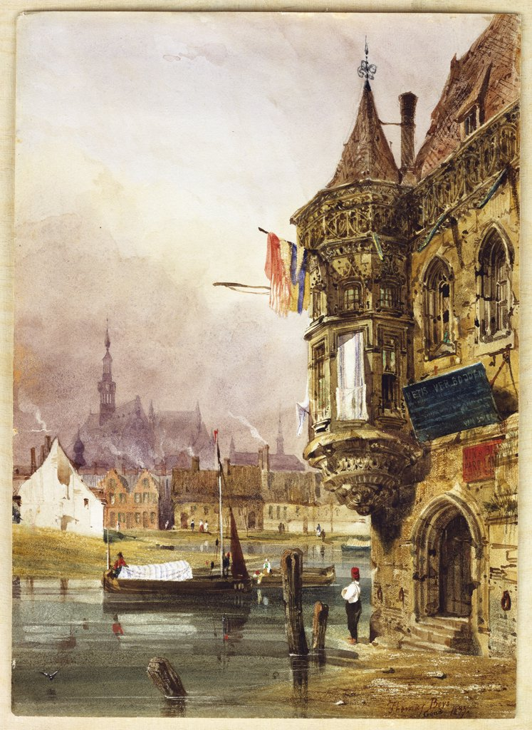 Stock Photo: 866-8393 A Figure beside a Building, Ghent, with Barges on the River Leye beyond. Thomas Shotter Boys (1803-1908). Pencil and watercolour, 31.5 x 22.6cm.