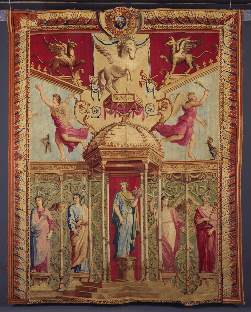 Stock Photo: 866-8413 A Louis XIV Gobelins Tapestry from the Triomphes des Dieux series, after the designs by Noel Coypel (1628-1707). Woven in wools and silks, Minerva shown standing on a circular plinth. 311 x 257cm.