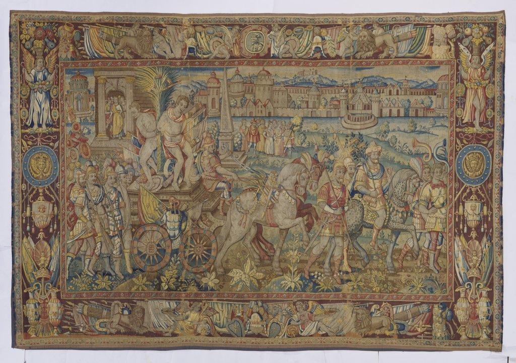 Stock Photo: 866-8415 A Bruges Tapestry, woven in wools and silks, depicting a Triumphal Entrance of a Victorious General. Mid 16th century, 348 x 498cm.